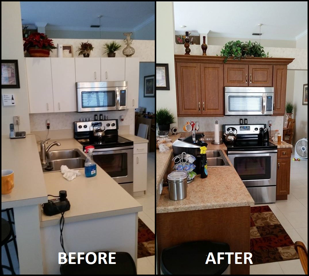100 kitchen cabinet refacing before and after photos for Kitchen cabinets jobs