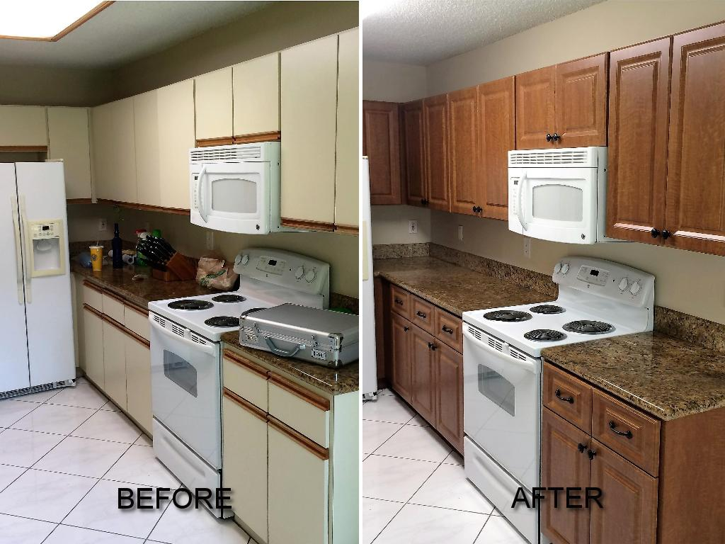 Before after pictures of kitchen cabinet refacing call Refacing bathroom cabinets cost