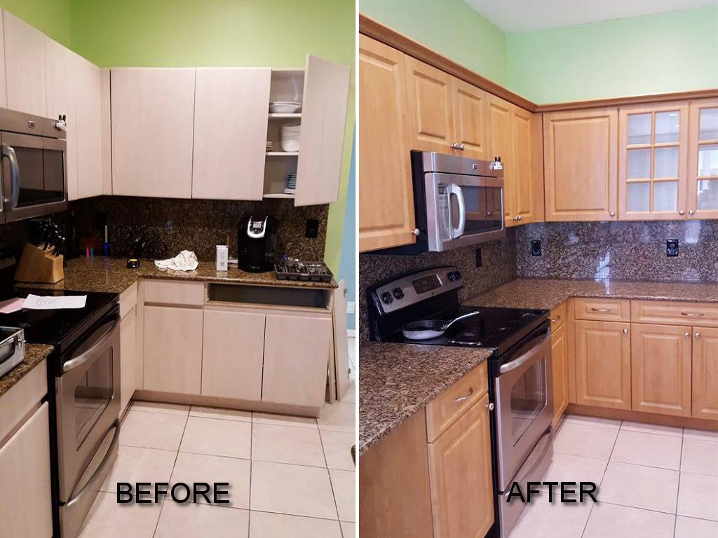 refacing bathroom cabinets cost before amp after pictures of kitchen cabinet refacing call 25238